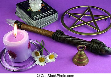 Divination 2 - Tarot cards, pentacle, crystal, candle, wand,...