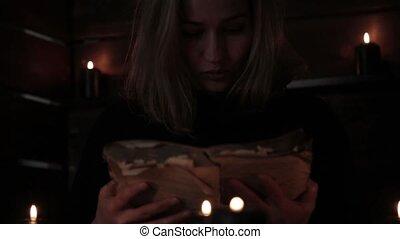 divination, magie, bougies, rituel, sorcière, tenue, vue