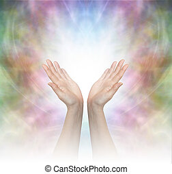 Divine Healing Energy - Female healing hands outstretched ...