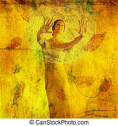 Divine Insight - Woman in visualization metaphor. Photo...