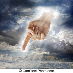 Divine Intervention - Hand of a god-like creature pointing...