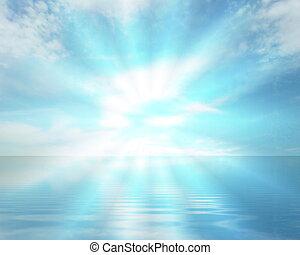 Divine presence, sea and sky - Blue sea, sky and divine ...