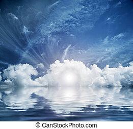Divine sky, heaven. Conceptual entrance to new life