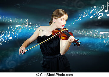 Divine sound - Portrait of a young female playing the violin...