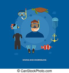 Diving and Snorkeling Concept