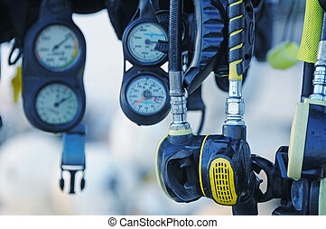 Hanging diving accesories needed for a scubadiving