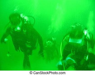 Diving - Artistic blur of divers in greenish water