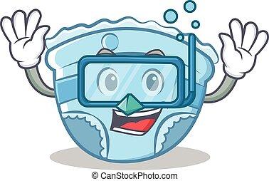 Diving baby diaper character cartoon