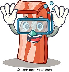 Diving bacon character cartoon style vector illustration