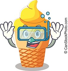 Diving banana ice cream isolated on mascot
