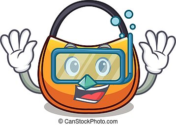Diving beautifully hobo bag on character funny vector...
