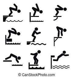 Diving board icons set, simple style