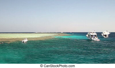 Diving boats and reef - Diving boats near the reef Tiran,...
