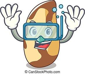 Diving brazil nut character cartoon