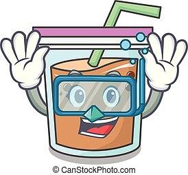 Diving bubble tea character cartoon