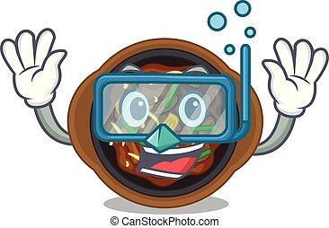 Diving bulgogi in a the bowl cartoon