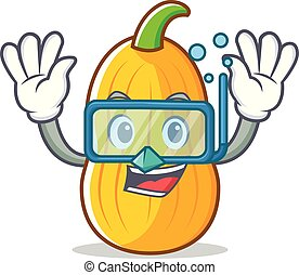 Diving butternut squash character cartoon vector...