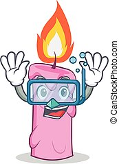 Diving candle character cartoon style vector illustration