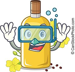 Diving canola oil in the mascot shape vector illustration