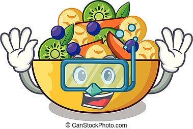 Diving cartoon bowl healthy fresh fruit salad