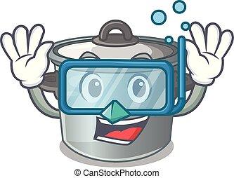 Diving cartoon cookware stock pot in kitchen vector...