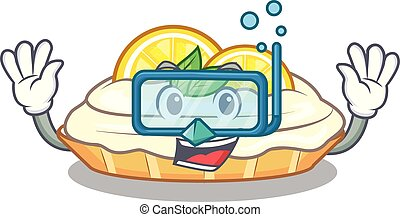Diving cartoon lemon cake with lemon slice