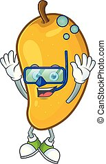 Diving cartoon of mango character on a white background.