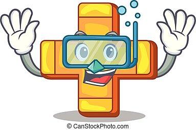 Diving cartoon plus sign logo concept health