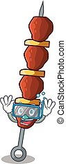 Diving chicken shish with pepper tomato cartoon