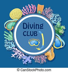 Diving club advertising with round decorative frame mask, tube, corals
