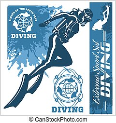 diving club illustration and labels set
