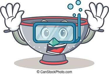 Diving colander utensil character cartoon vector...