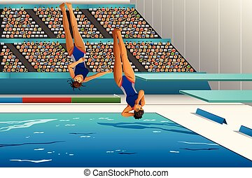 Diving competition - A vector illustration of divers diving ...