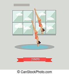 Diving concept vector illustration in flat style