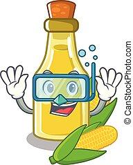 Diving corn oil put into cartoon bottle