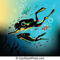 Diving - Divers in a deep immersion
