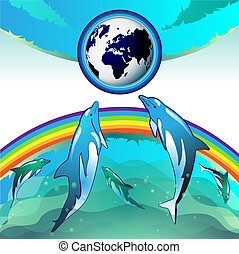 Diving dolphin with blue Earth - Eco Earth, clean water,...