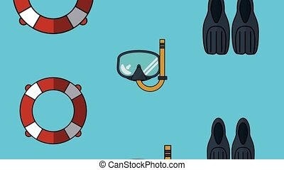 Diving equipment background HD animation - Diving mask fins...
