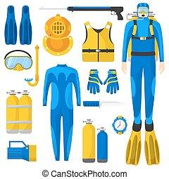 Diving equipment or elements set.