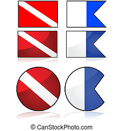 Diving flag - Set of two different flags normally used to...
