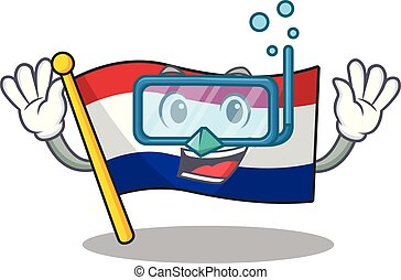 Diving flag netherlands with the mascot shape vector ...