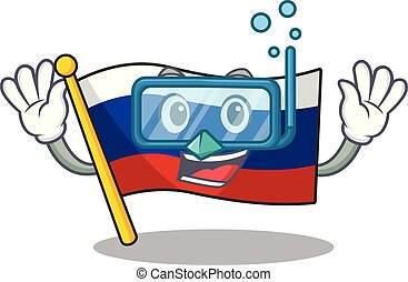 Diving flag russian stored in cartoon cupboard