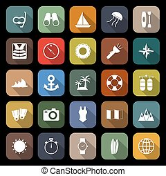 Diving flat icons with long shadow