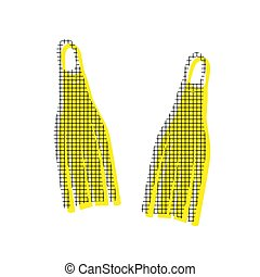 Diving flippers sign. Vector. Yellow icon with square pattern du