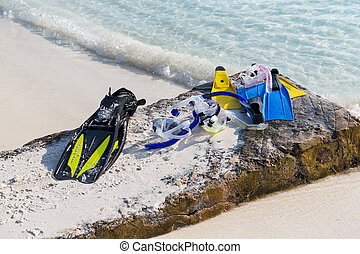 diving gear on beach - diving, snorkeling, leisure and...