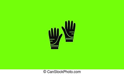 Diving gloves icon animation best simple object on green screen background