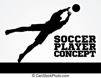 Diving Goal Keeper Silhouette Soccer Player - A stylised...