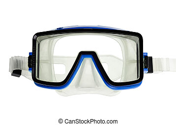 Diving goggles on white