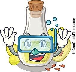 Diving grape seed oil in cartoon bottle