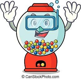 Diving gumball machine character cartoon vector illustration